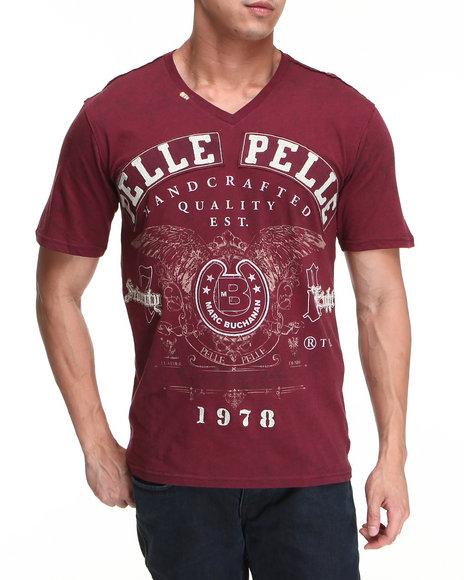 Pelle Pelle Men Maroon 78 S/S V-Neck Tee