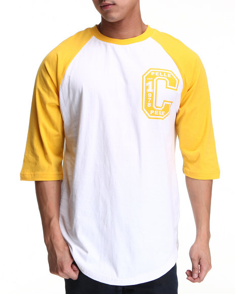 Pelle Pelle Men Yellow 3/4 Sleeve Raglan Club Tee