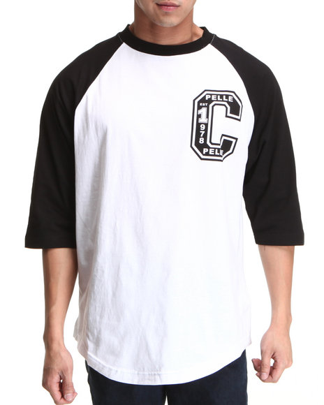 Pelle Pelle Men Black 3/4 Sleeve Raglan Club Tee