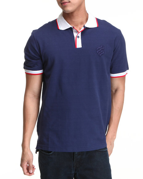 Rocawear Men Blue Solid S/S Polo