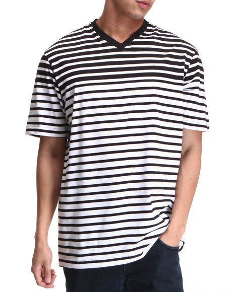 Rocawear Men Black,White Stripe S/S V-Neck Tee