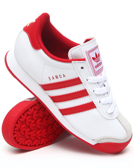 red and white adidas samoas