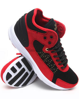 Supra - Owen Mid Red Microfiber/Black Mesh Sneakers