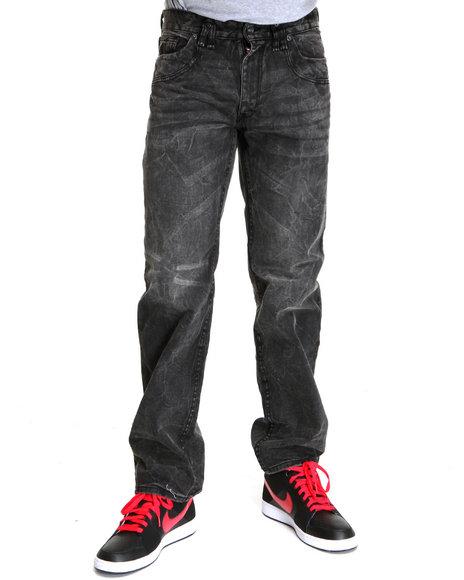 Rocawear Men Black Grid Classic Fit Jeans