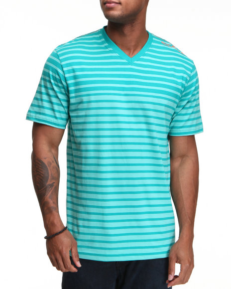 Rocawear Men Green Stripe S/S V-Neck Tee