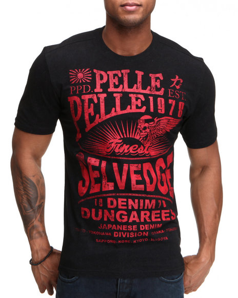 Pelle Pelle Men Black S/S Selvedge Jeans Tee