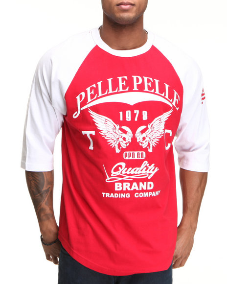 Pelle Pelle Men Red,White Pelle 3/4 Sleeve Raglan Tee
