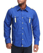 Shirts - Royal Blue Military Epilet Woven Shirt