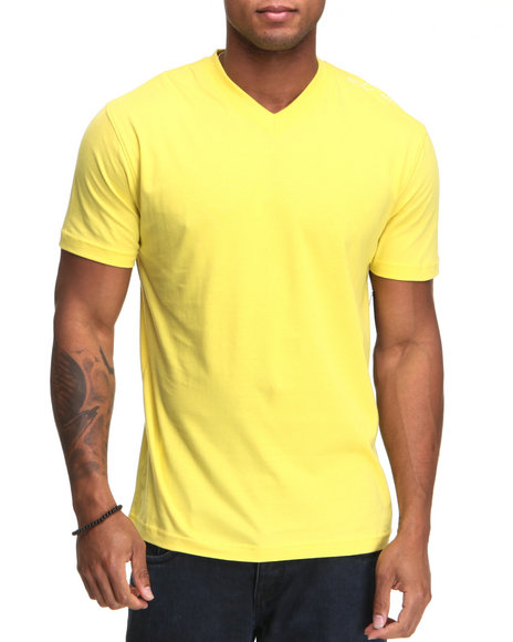 Rocawear Men Yellow Basic V-Neck S/S Tee