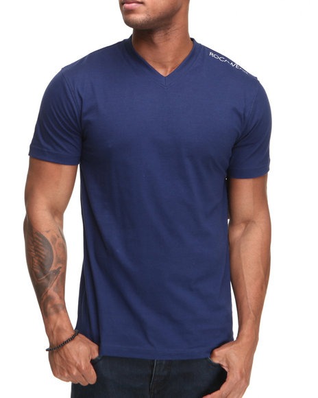 Rocawear Men Blue Basic V-Neck S/S Tee