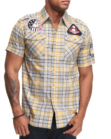 Buyers Picks Men Yellow Raw Blue Patch Scotch Short Sleeve Woven Shirt