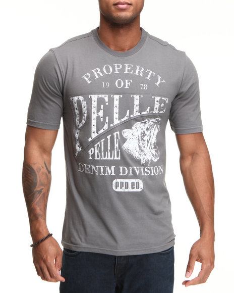 Pelle Pelle Men Grey S/S Pelle Denim Division Tee