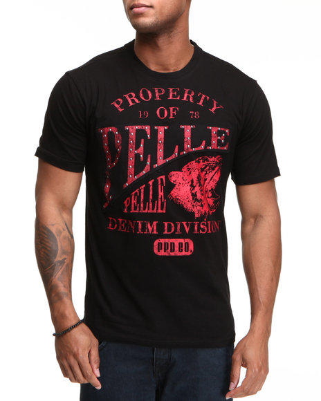 Pelle Pelle Men Black S/S Pelle Denim Division Tee