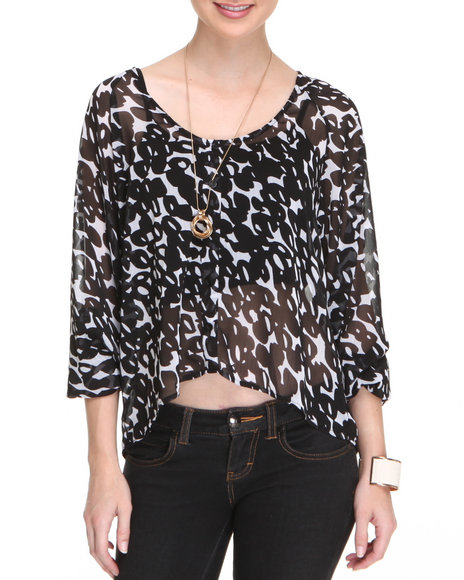 Fashion Lab Women Black Carol Chiffon Button Down Top