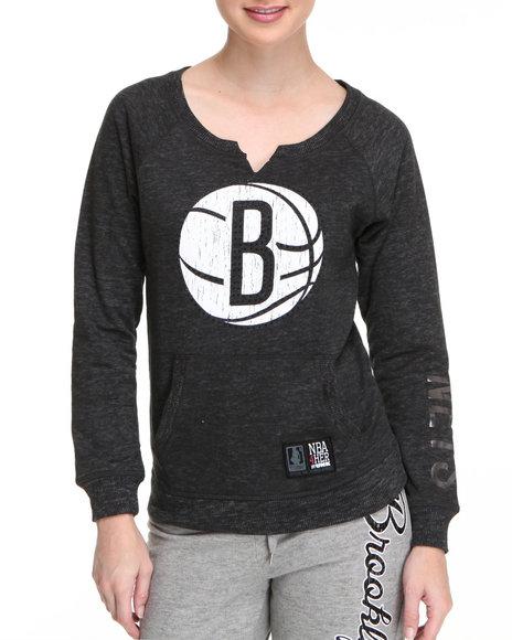 Nba Mlb Nfl Gear - Women Black Brooklyn Nets Pullover