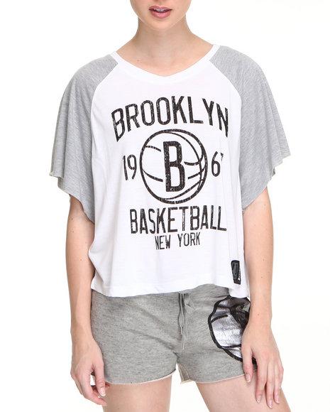 Nba Mlb Nfl Gear - Women White Brooklyn Nets Crop Top