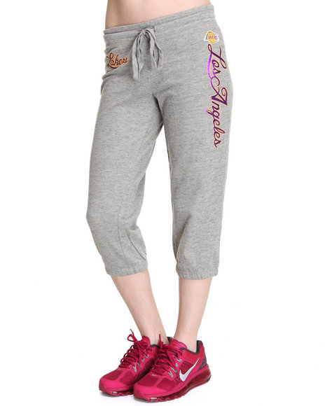 Nba Mlb Nfl Gear - Women Grey La Lakers Hot Shot Capri