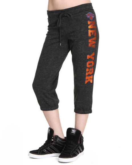 Nba Mlb Nfl Gear - Women Charcoal Knicks Capri Pants