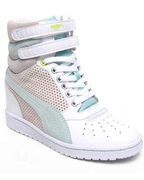 Puma Women Teal,White Sky Wedge Sneakers