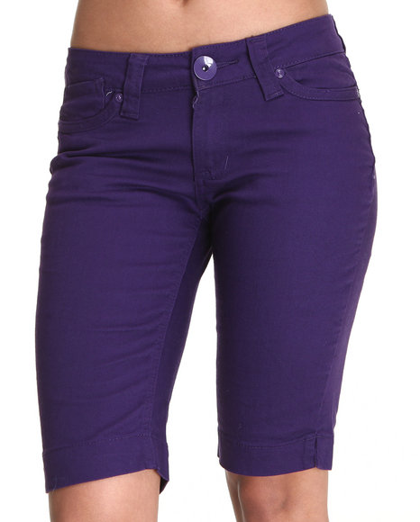 Basic Essentials Women Dark Purple Lanya Bermuda Shorts