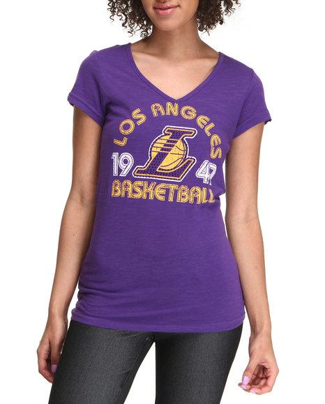 NBA MLB NFL Gear Purple V-Neck Los Angeles Basketball Tee