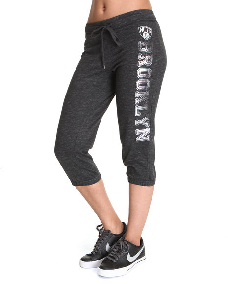 Nba Mlb Nfl Gear - Women Black Brooklyn Nets Capri Pants