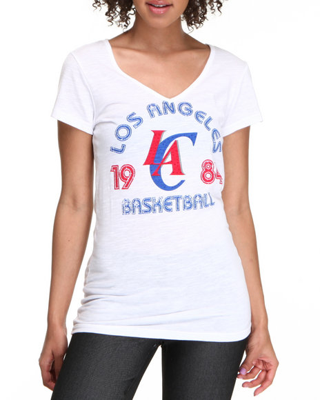 NBA MLB NFL Gear White V-Neck Los Angles Clippers Tee