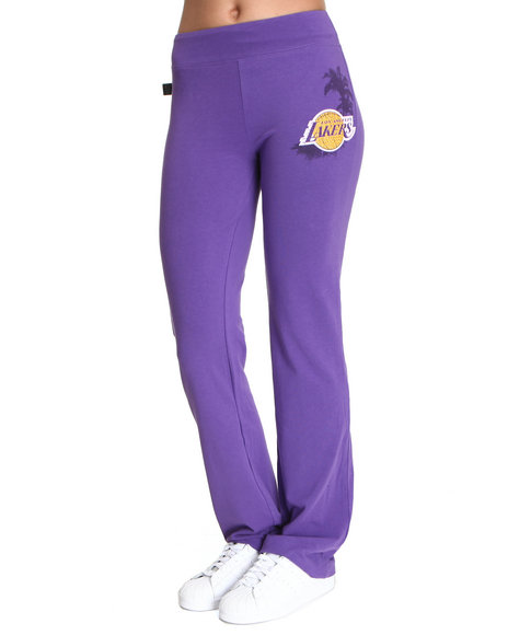 Nba Mlb Nfl Gear - Women Purple La Lakers Warm Up Yoga Pants