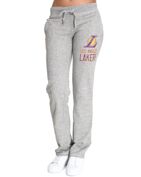 Nba Mlb Nfl Gear Women Grey Lakers Drawstring Sweatpants