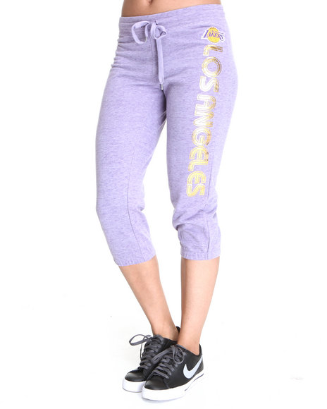 NBA MLB NFL Gear - Women Purple Apri Los Angeles Lakers Drawstring Sweatpants