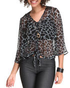 Long-Sleeve - Lola Chiffon Tie Front top