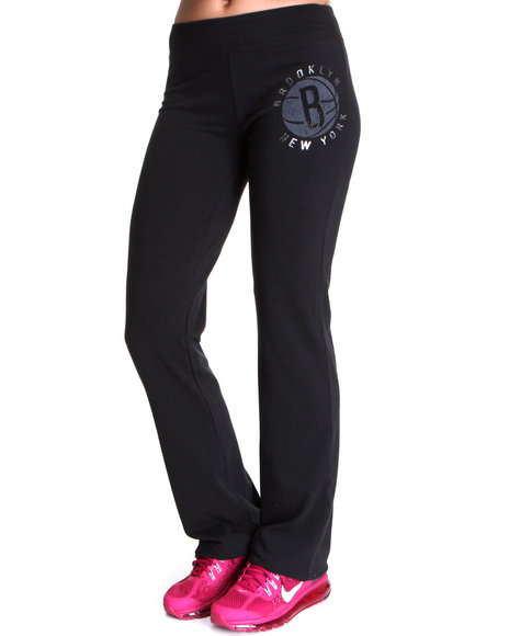 Nba Mlb Nfl Gear - Women Black Brooklyn Nets Warm Up Yoga Pants