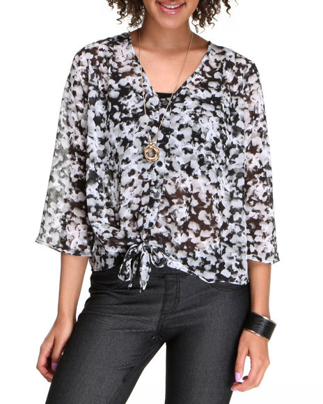 Basic Essentials Women Black,Light Grey Lola Chiffon Tie Front Top