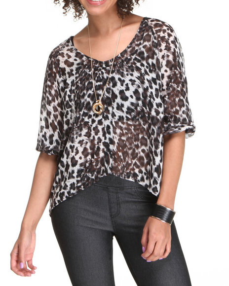 Fashion Lab Women Animal Print,Black Carol Chiffon Button Down Top