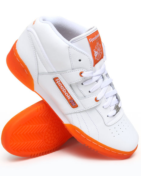 Reebok Men Orange,White Workout Mid Sneakers