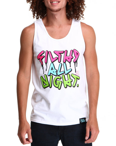 Filthy Dripped White Tanks