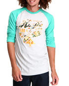 Shirts - Hustle Trees Script Baseball Raglan Tee