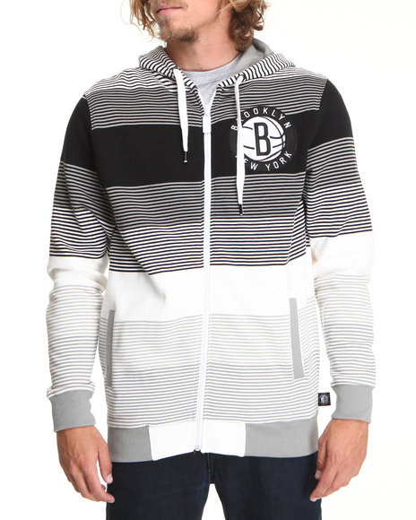 Nba, Mlb, Nfl Gear - Men Grey Brooklyn Nets Weaz Stripe Full Zip Hoodie Jacket