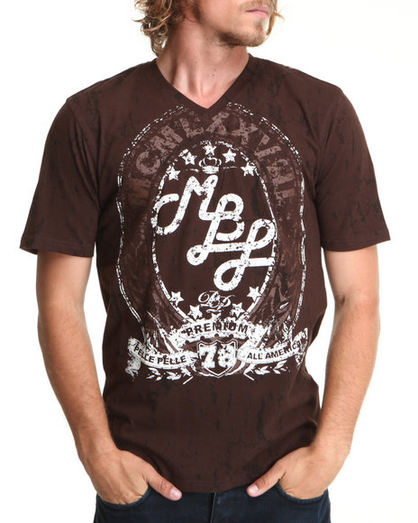 Pelle Pelle Men Brown Distressed V-Neck Tee