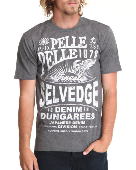 Pelle Pelle Men Grey S/S Selvedge Jeans Tee