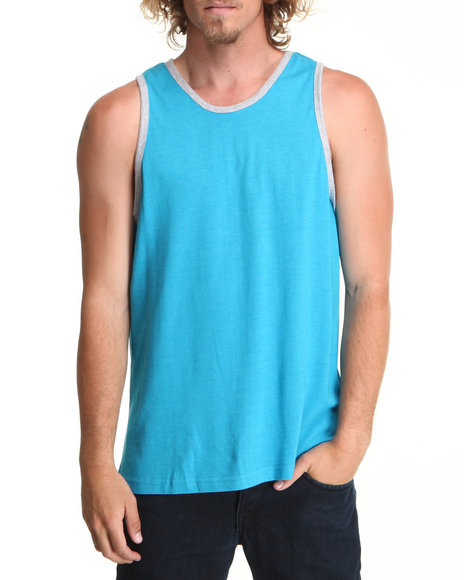 Buyers Picks Men Blue Solid Heathered Tank Top