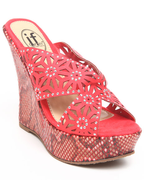 Fashion Lab - Women Pink Wedge Sandal W/Animal Print Detail