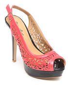 Two Lip Shoes - Fancy Cut-out Design Platform Heel