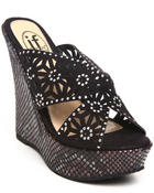 Fashion Lab - Wedge Sandal w/animal print detail