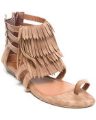 Fashion Lab - Fringe Sandals w/triple strap