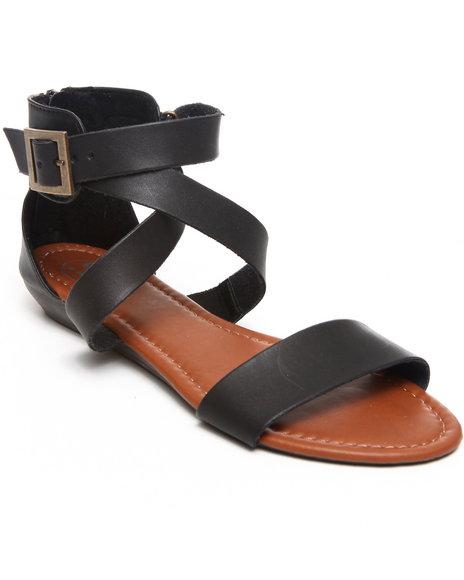 Fashion Lab Women Double Strap Flat Sandal Black 8.5