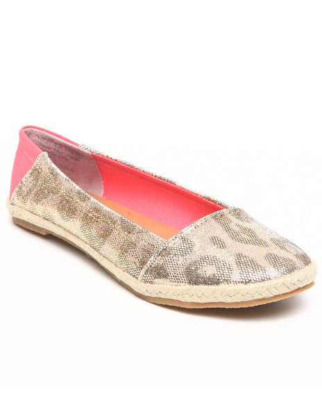 Not Rated - Women Gold Shiny Animal Print Comfy Flat