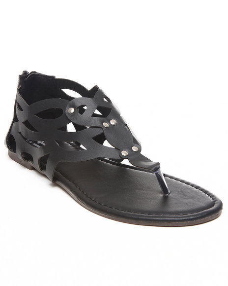 Fashion Lab Women Black Laser Cut Sandal