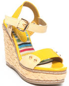 Two Lip Shoes - Spiked Patent Strap Wedge
