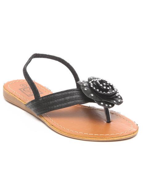 La Galleria Girls Black T-Back Strap Sandal W/Flower Stones